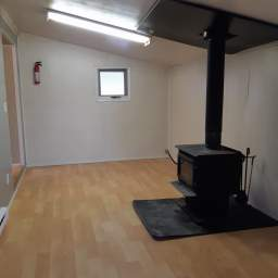Addition with dining space and wood heat